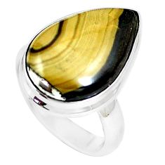 13.27cts natural yellow schalenblende polen 925 silver ring size 7 m93191