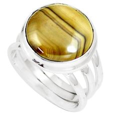 11.60cts natural yellow schalenblende polen 925 silver ring size 7.5 m93192