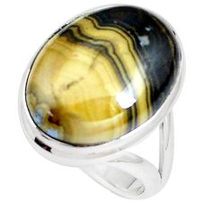 925 silver 16.46cts natural yellow schalenblende polen oval ring size 8 m93194
