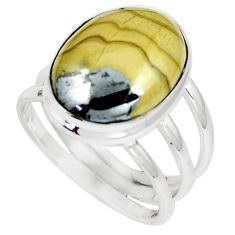 13.63cts natural yellow schalenblende polen 925 silver ring size 9.5 m93195