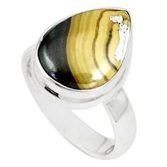 925 silver 7.53cts natural yellow schalenblende polen pear ring size 6 m93196