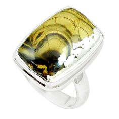 13.84cts natural yellow schalenblende polen 925 silver ring size 7 m93197