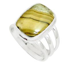 8.96cts natural yellow schalenblende polen 925 silver ring size 7.5 m93198