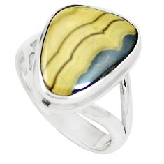 925 silver 7.03cts natural yellow schalenblende polen ring size 6.5 m93199