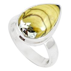 6.84cts natural yellow schalenblende polen 925 silver ring size 6 m93200
