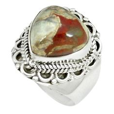 Natural brown mushroom rhyolite 925 sterling silver ring size 7 m9323