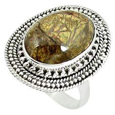 925 sterling silver natural multi color mushroom rhyolite ring size 8 m9331