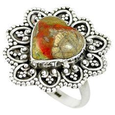 925 sterling silver natural brown mushroom rhyolite heart ring size 7.5 m9337