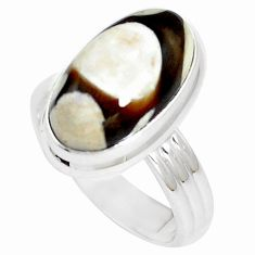 7.40cts peanut petrified wood fossil 925 silver solitaire ring size 7 m93427