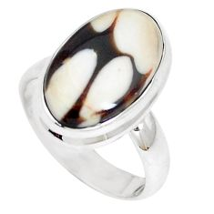 6.95cts peanut petrified wood fossil 925 silver solitaire ring size 6.5 m93428