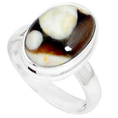 6.86cts peanut petrified wood fossil 925 silver solitaire ring size 7 m93429