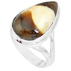 925 silver 12.83cts peanut petrified wood fossil solitaire ring size 7 m93435
