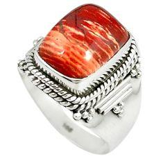 925 sterling silver natural red snakeskin jasper octagan ring size 8.5 m9364