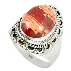 Natural red snakeskin jasper 925 sterling silver ring size 8.5 m9366