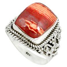 Natural red snakeskin jasper 925 sterling silver ring size 8 m9375