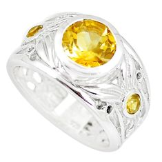 3.63cts natural yellow citrine 925 silver solitaire ring jewelry size 7.5 m94106