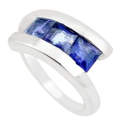 2.73cts natural blue iolite 925 sterling silver solitaire ring size 6.5 m94147