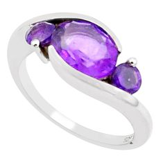 4.23cts natural purple amethyst 925 sterling silver ring jewelry size 6.5 m94338
