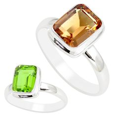 3.45cts green alexandrite (lab) 925 sterling silver solitaire ring size 7 m95955