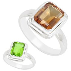 3.32cts green alexandrite (lab) 925 sterling silver solitaire ring size 6 m95965