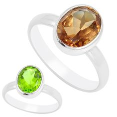 3.69cts green alexandrite (lab) 925 silver solitaire ring size 6.5 m95990
