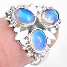 4.82cts natural multi color ethiopian opal 925 silver ring size 7.5 m96181
