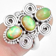 5.01cts natural multi color ethiopian opal 925 silver ring size 7 m96188