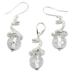 Natural white topaz 925 sterling silver pendant earrings set m13449