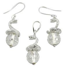 Natural white topaz 925 sterling silver pendant earrings set m13450