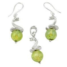 Natural green prehnite 925 sterling silver pendant earrings set m13451