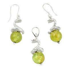 Natural green prehnite beads 925 sterling silver pendant earrings set m13452