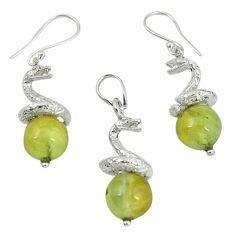 Natural green prehnite 925 sterling silver pendant earrings set m13453