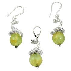 Natural green prehnite 925 sterling silver pendant earrings set m13454