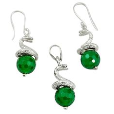 925 silver natural green chalcedony pendant earrings set jewelry m13455