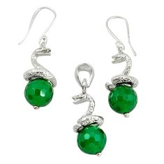 Natural green chalcedony 925 silver pendant earrings set jewelry m13458