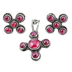 Natural red garnet 925 sterling silver pendant earrings set jewelry m17427
