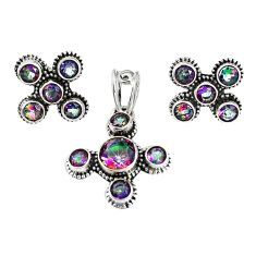 Multi color rainbow topaz 925 sterling silver pendant earrings set m17430