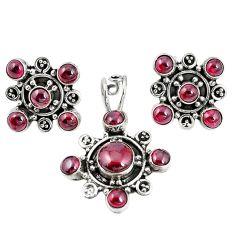 Natural red garnet 925 sterling silver pendant earrings set m17443