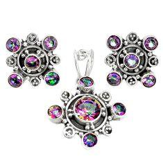 Multi color rainbow topaz 925 silver pendant earrings set m17449