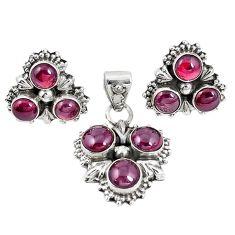 Natural red garnet 925 sterling silver pendant earrings set m17462