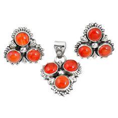 Natural orange cornelian (carnelian) 925 silver pendant earrings set m17474