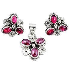 Natural red garnet 925 sterling silver pendant earrings set jewelry m17488