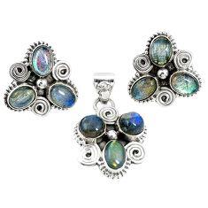 Natural blue labradorite 925 silver pendant earrings set jewelry m17493