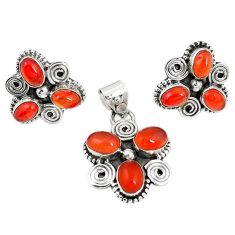 Natural orange cornelian (carnelian) 925 silver pendant earrings set m17499