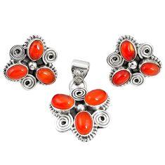 925 silver natural orange cornelian (carnelian) pendant earrings set m17500