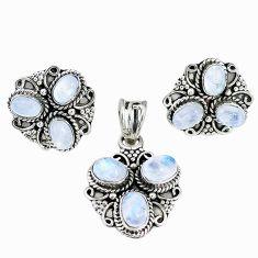 Natural rainbow moonstone 925 silver pendant earrings set m17506