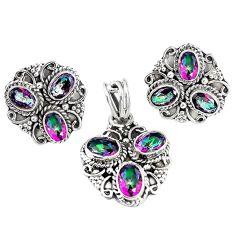 Multi color rainbow topaz 925 silver pendant earrings set jewelry m17508