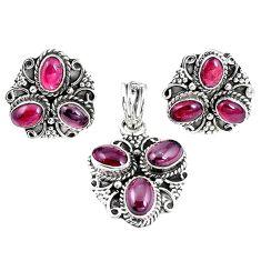 Natural red garnet 925 sterling silver pendant earrings set jewelry m17510