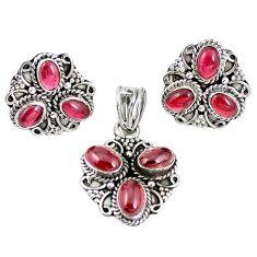 Natural red garnet 925 sterling silver pendant earrings set m17516