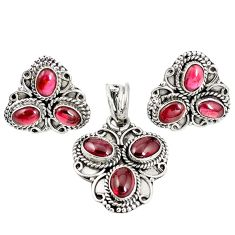 Natural red garnet 925 sterling silver pendant earrings set m17525